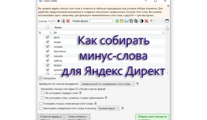 Как собрать минус-слова для Яндекс Директ