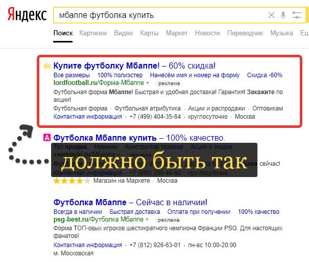 Объявления Яндекс Директ пример