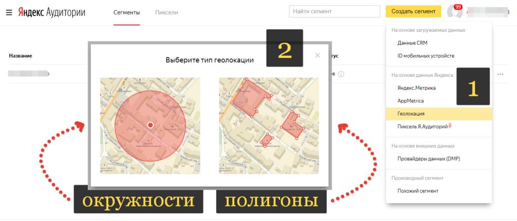 Окружности полигоны Яндекс Аудитории