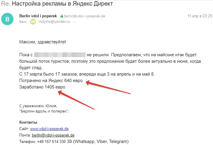 Кейс Яндекс Директ потрачено заработано на 11.04.19