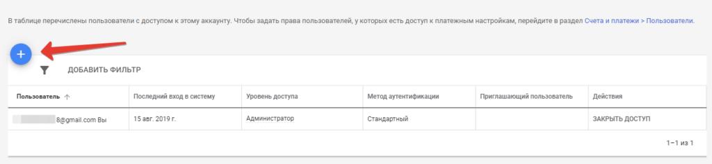 Доступ к Google Adwords: меню учетных записей