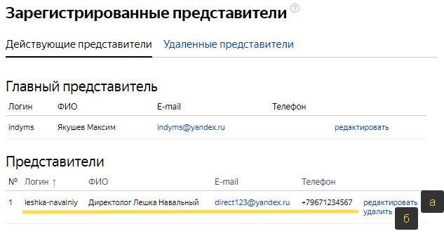 Доступ к Яндекс Директ: меню с новым представителем