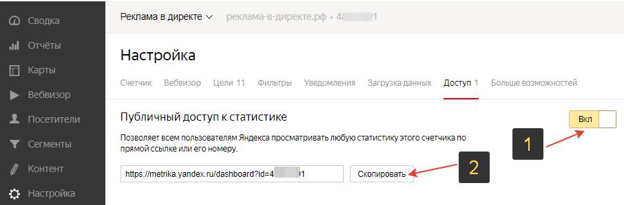 Публичный доступ к Яндекс Метрике